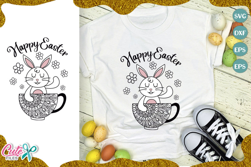 Happy Easter Bunny With Mandala Svg Cut File By Cute Files