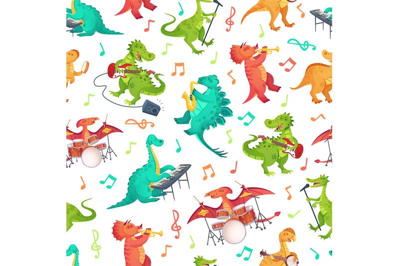Seamless Cartoon Music Dinosaurs Pattern Dino Band Cute Dinosaur