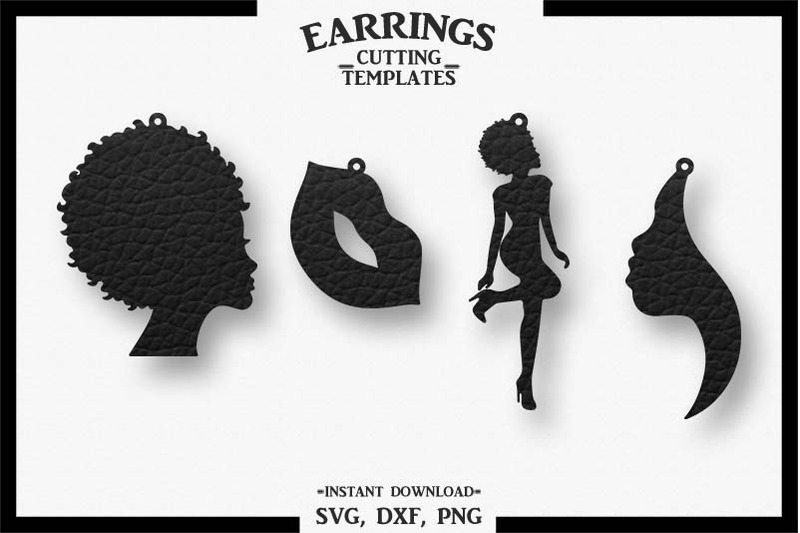 Afro Lady Earrings Lip Earrings Cut File Svg Dxf Png By Design
