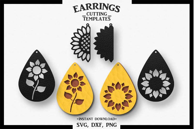 Sunflower Earring Silhouette Cameo Cricut Cut Svg Dxf Png By