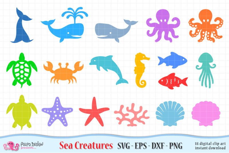 Sea Creatures Svg Eps Dxf And Png By Polpo Design