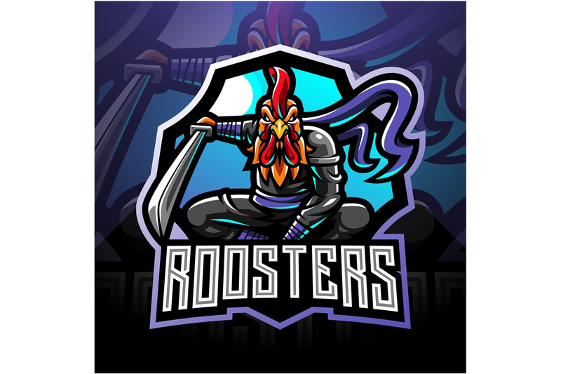 Ninja Rooster Esport Mascot Logo By Visink Thehungryjpeg Com