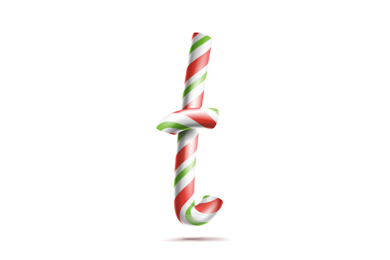 Letter T Vector 3d Realistic Candy Cane Alphabet Symbol In