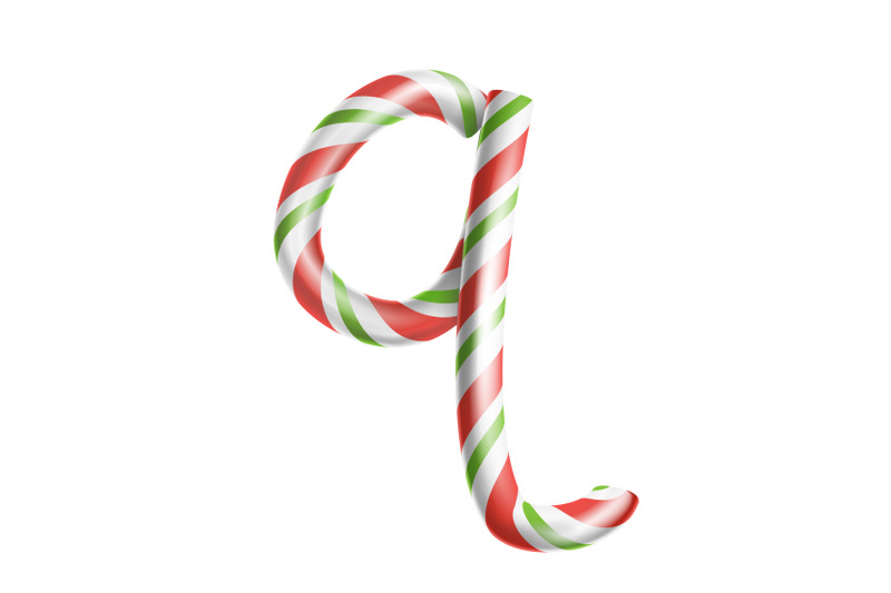Letter Q Vector 3d Realistic Candy Cane Alphabet Symbol In