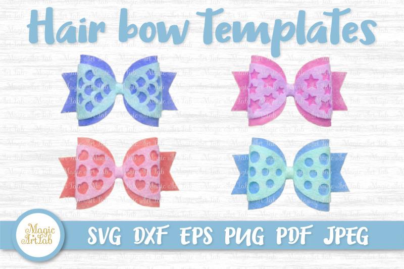 Hair Bow Svg Hair Bow Template Mermaid Hair Bow Svg Double Hair