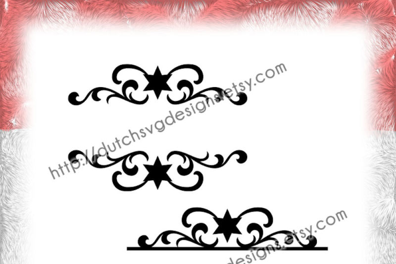 2 Swirly Split Border Cutting Files With Stars For Monogram And Text In Jpg Png Studio3 Svg Eps Dxf For Cricut Silhouette Decorative Christmas Border By Dutch Svg Designs Thehungryjpeg Com