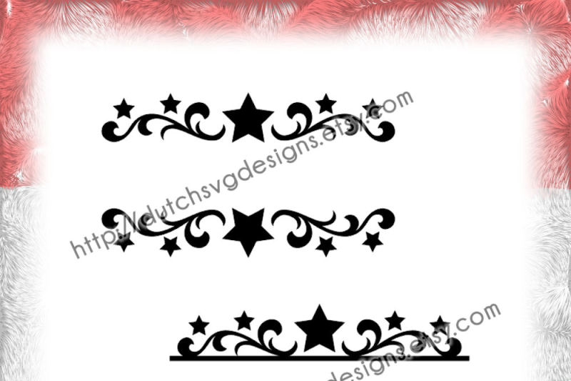 2 Swirly Split Border Cutting Files With Stars For Monogram And
