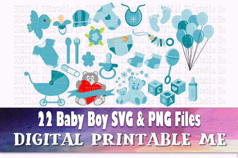 Boy Baby Shower Clip Art Svg Bundle Png Digital Cut File Vector By Digitalprintableme Thehungryjpeg Com
