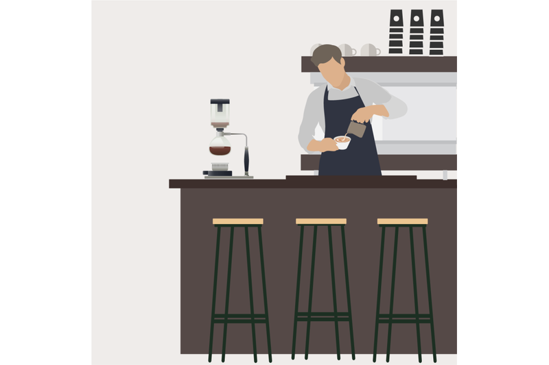 Barista at workplace makes coffee. Vector barista man By 09910190    TheHungryJPEG.com