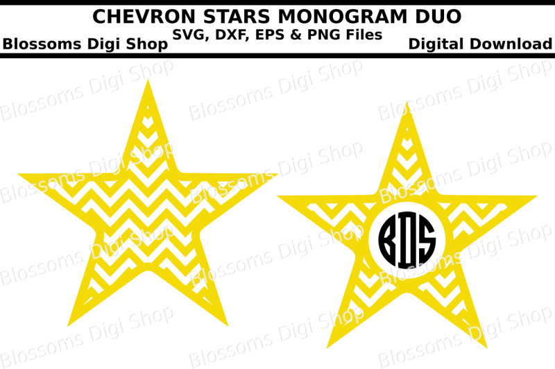 Free Chevron Star Monogram Duo Svg Eps Dxf And Png Cut Files Svg Free Hand Lettered Svg Cut Files Letters By Prell