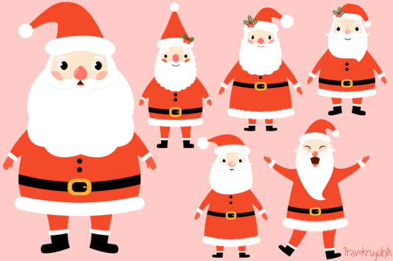 Kawaii Santa Claus Clipart Set Cute Santa Clip Art Funny Santas Christmas Clipart Winter Clip Art By Pravokrugulnik Thehungryjpeg Com