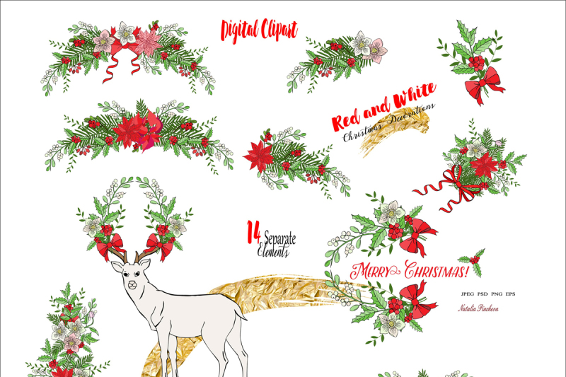 Red And White Christmas Decorations By Nataliapiache