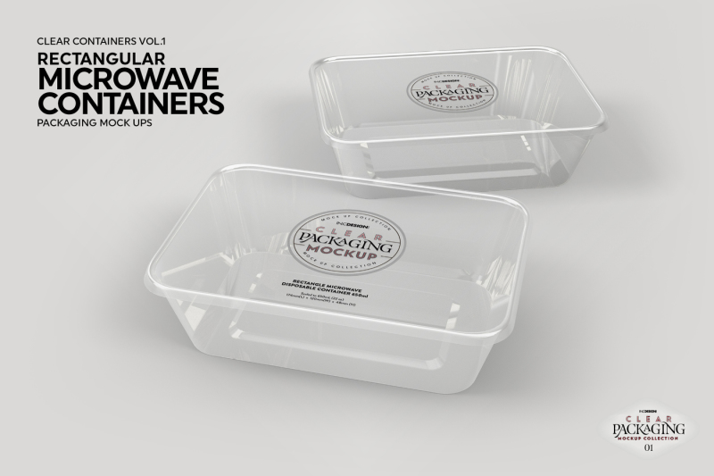 Vol 1 Clear Plastic Food Containers Packaging Mock Up