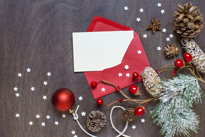 Christmas Background With Red Envelope By Mockupstore