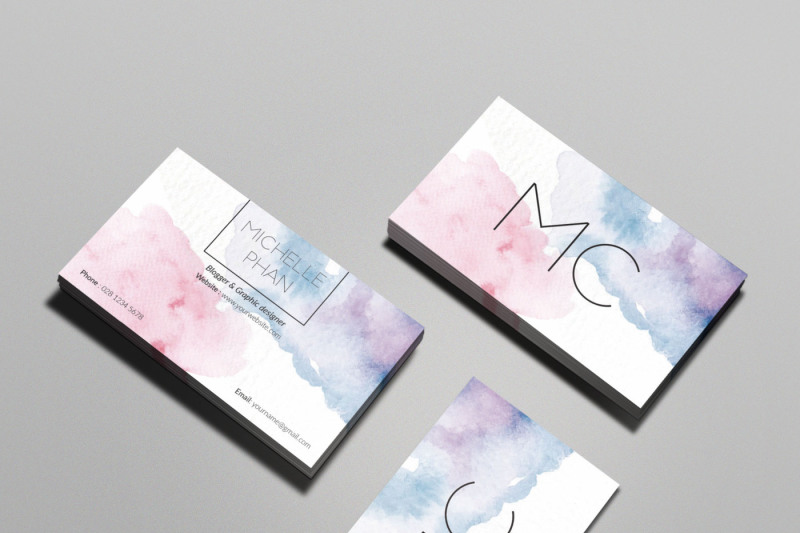 Watercolor Business Card By Chic Templates Thehungryjpeg