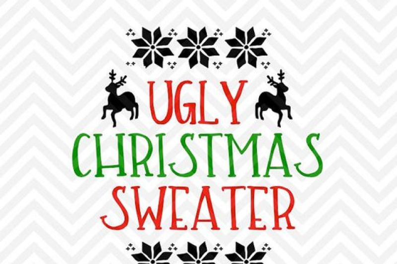 Ugly Christmas Sweater Reindeer Snowflakes Svg And Dxf Cut File