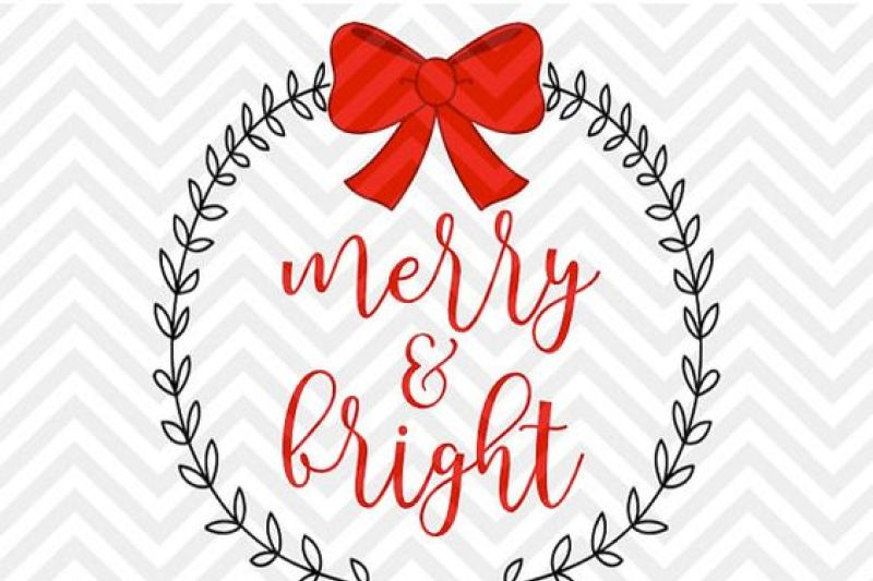 Christmas Jeep Silhouette.Free Merry And Bright Christmas Laurel Bow Svg And Dxf Cut