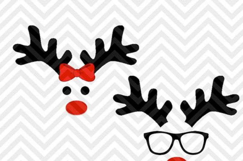 Reindeer Christmas Girl Boy Bow Glasses Cute Svg And Dxf Cut File