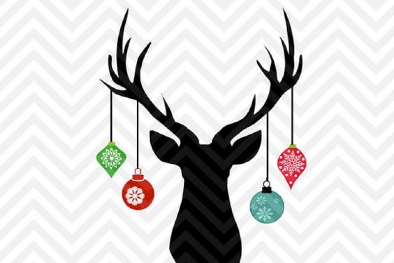 Hanging Christmas Ornaments Silhouette.Christmas Deer Antler Hanging Ornaments Svg And Dxf Cut File
