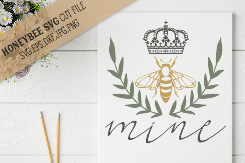 Bee Mine Laurel By Honeybee Svg Thehungryjpeg Com