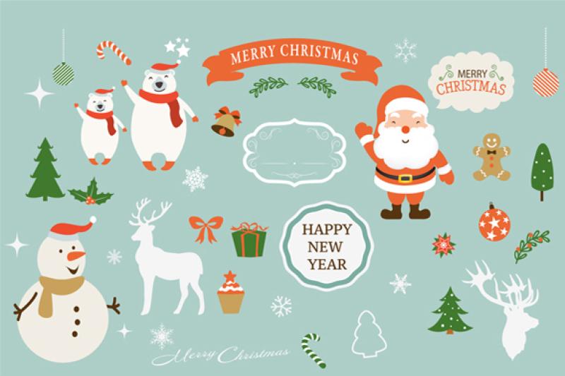 Christmas New Year Clipart By Greet Design Ideas Thehungryjpeg Com