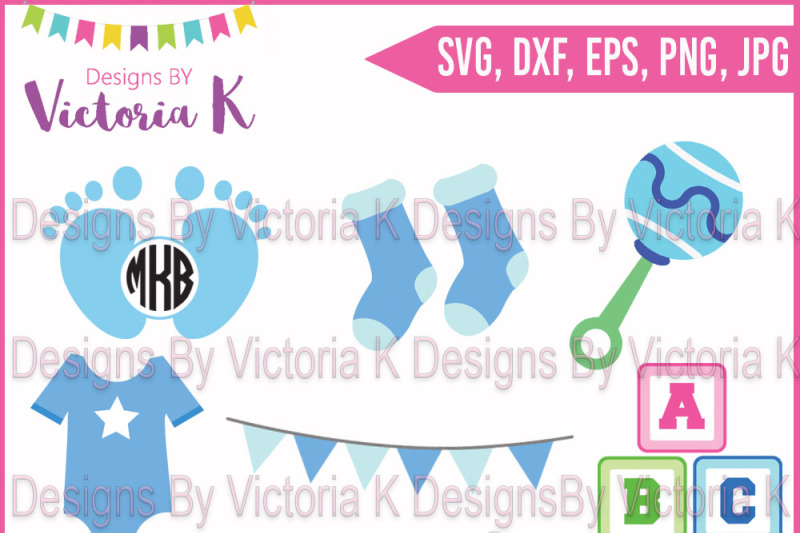 Baby Boy New Baby Monogram Feet Socks Rattle Vest Blocks Bunting Svg Dxf Cricut Silhouette Cut Files Scalable Vector Graphics Design Icons Svg File Graphic Resource