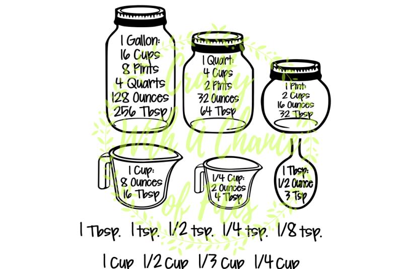 Kitchen Svg Conversion Chart Farm House Measurements Measuring Cups Spoons