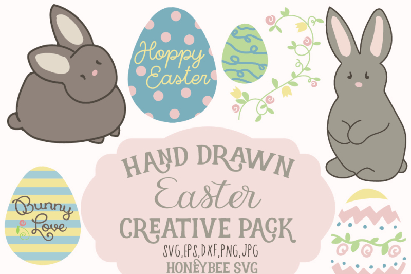Chubby Bunny Hand Drawn Easter Creative Pack By Honeybee Svg