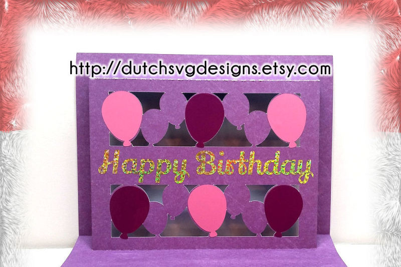 Popup Birthday Card Cutting File Happy Birthday With Balloons In