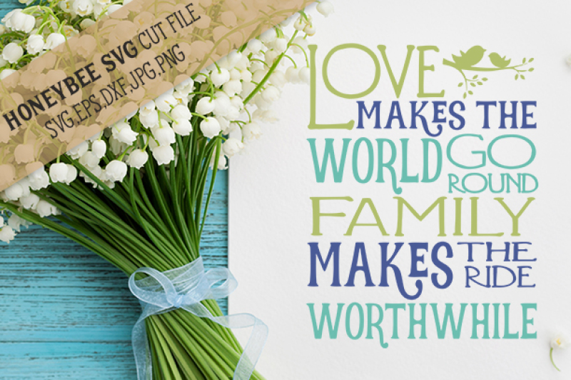 Love Makes The World Go Round Cut File By Honeybee Svg