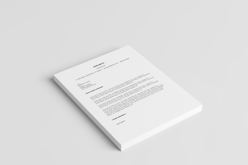 Clean Resume Template Cover Letter
