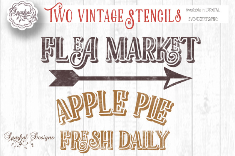 Two Vintage Sign Stencils In Farmhouse Decor Themed Cut Files By