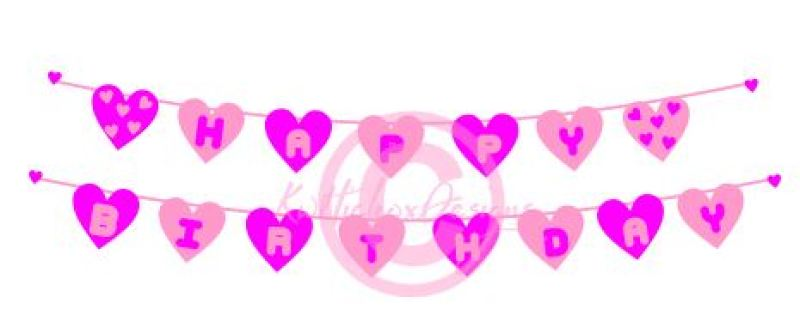 Heart Banner Svg Dxf Happy Birthday Banner Svg By Kerry Hickox