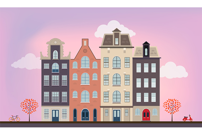 Urban European Houses In Different Architectural Styles And Colors