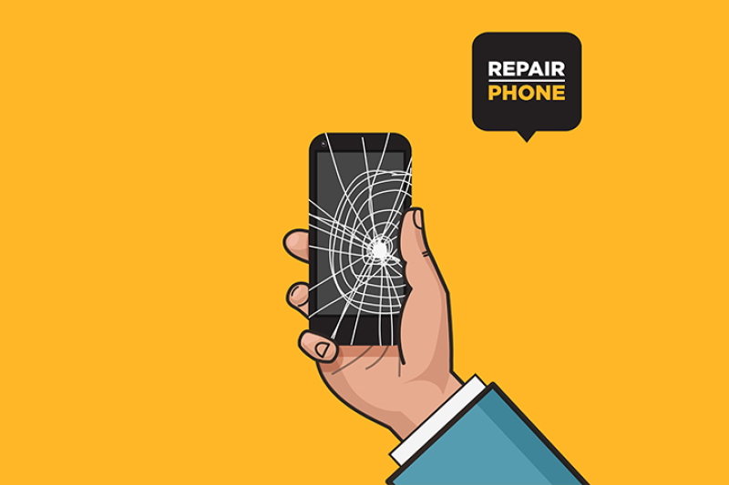 Smartphone with a cracked screen in a man's hand  Broken