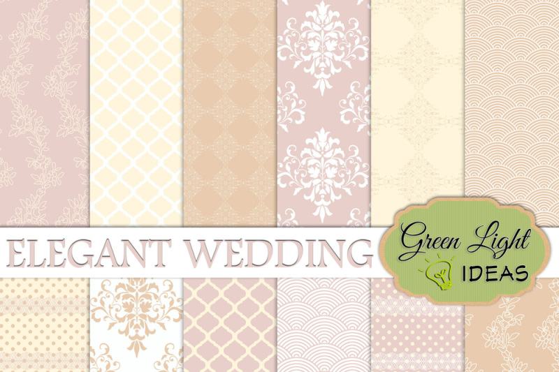 Elegant Wedding Digital Papers Bridal Backgrounds By Green