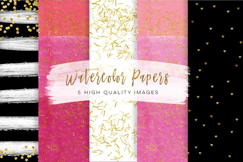 Black And Pink Gold Paper Scrapbook Paper Hot Pink Black Gold Paper
