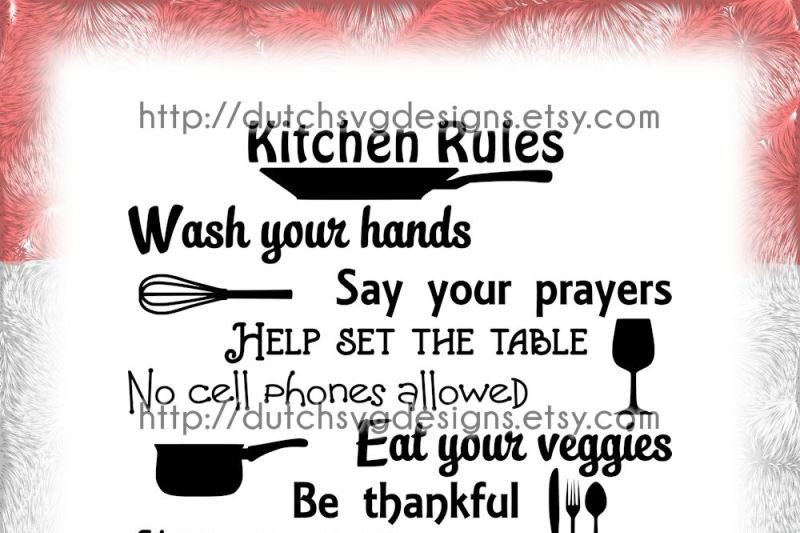 Text Cutting File Kitchen Rules In Jpg Png Svg Eps Dxf For Cricut