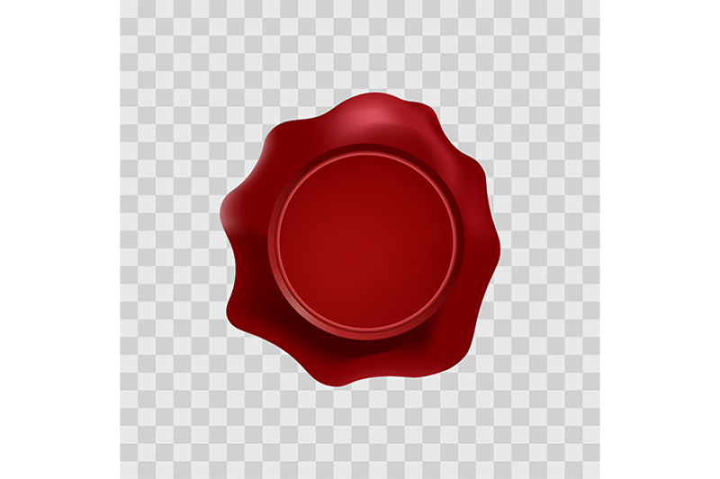 Red Wax Stamp With Blank Space For Text On The Transparent