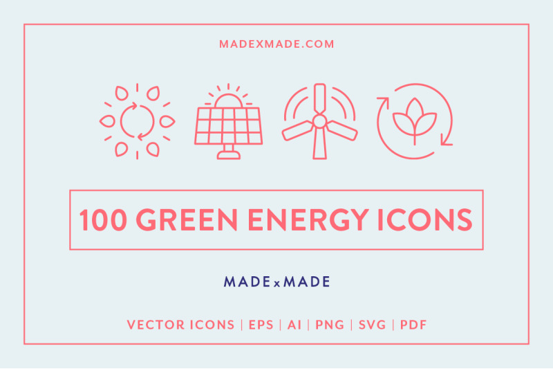 Line Icons Green Energy By Made By Made Thehungryjpeg Com
