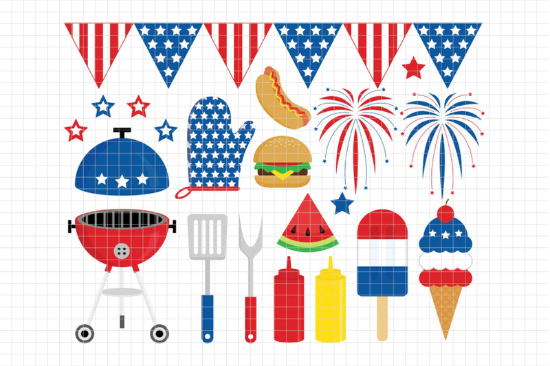4th Of July Bbq Party Digital Clipart Les Cl40 By Lemon Elf