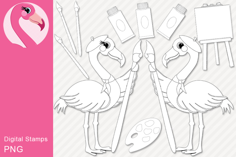 Download Free Artist Flamingo Digital Stamp Set Crafter File