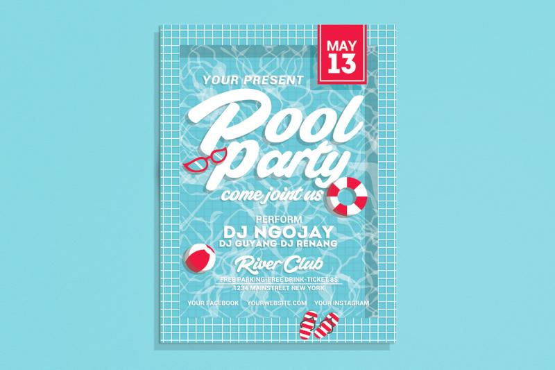 Pool Party Flyer By Muhamadiqbalhidayat Thehungryjpeg Com