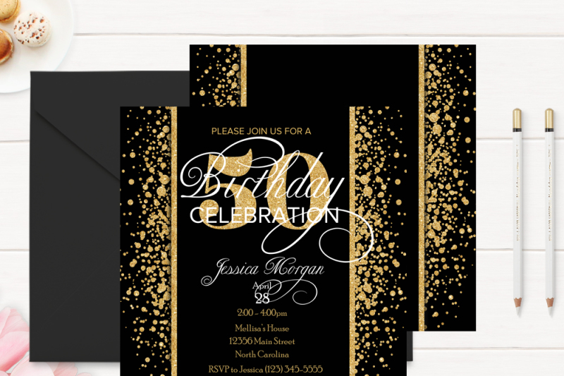 Gold And Black 50th Birthday Invitation Template