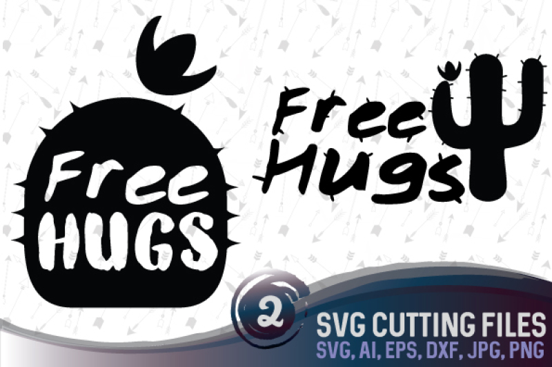 Free Hugs Cacti Cactus Vector Cutting File Svg Png Jpg Eps