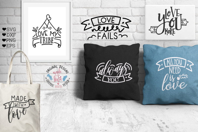 Banners And Love Quotes Cutting Bundle By Graphichousedesign