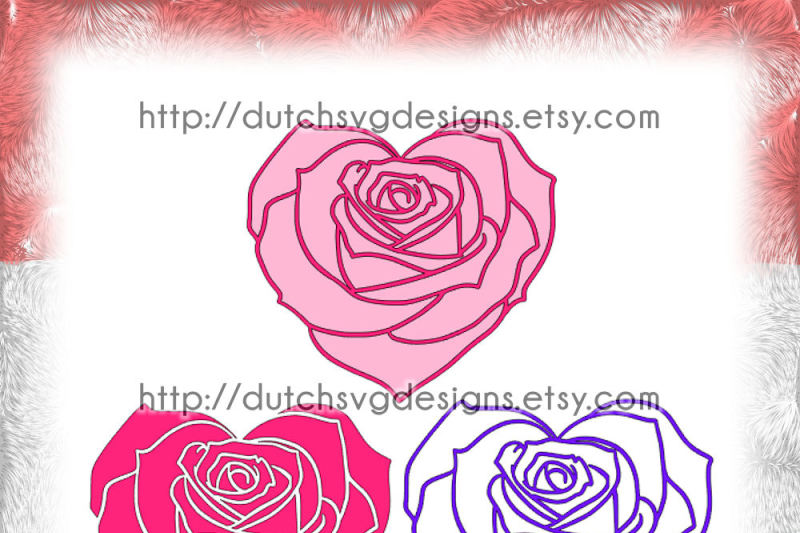 Cutting File Rose In Heart Shape 3 Files In Jpg Png Svg Eps Dxf