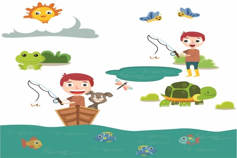 Boy Spring Fishing Illustration Vector Pack By Vectorsdepot