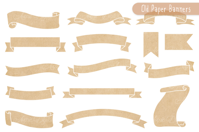 Old Paper Ribbon Banner Clipart By AvenieDigital