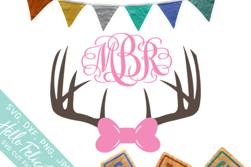 Baby Girl Deer Antlers Monogram Svg Cutting Files By Hello